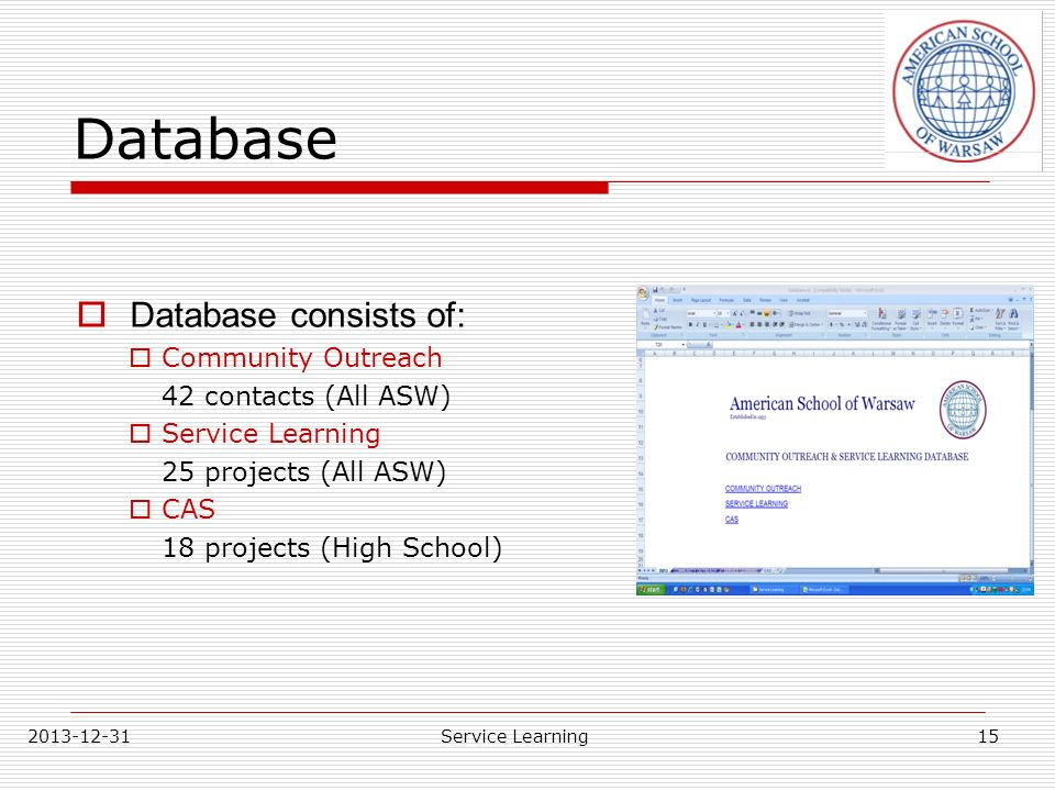 Database Database consists of: Community Outreach