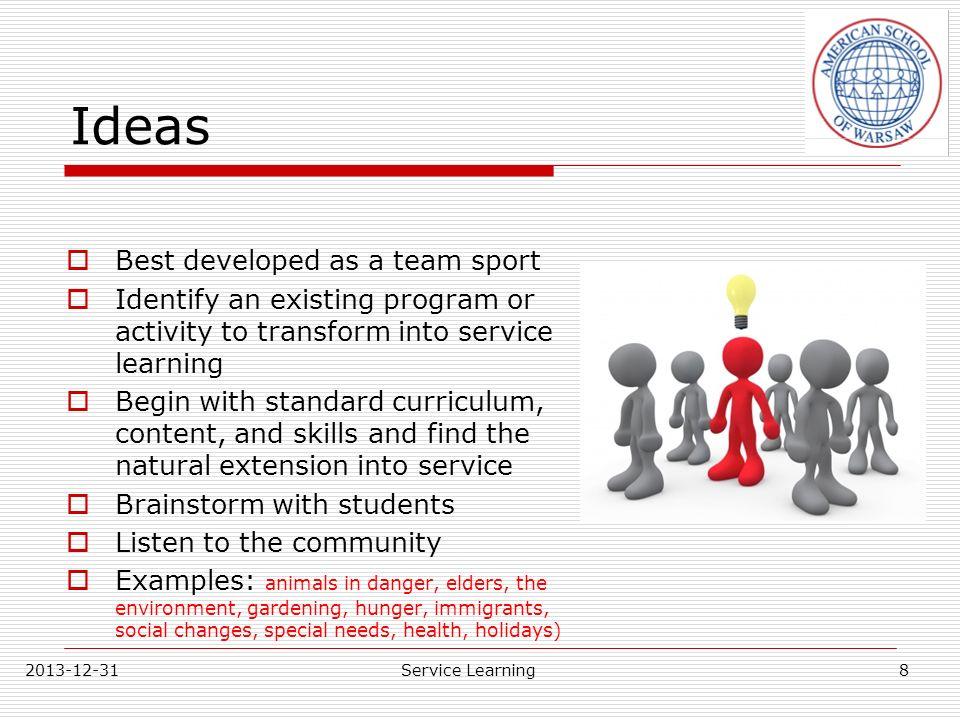 Ideas Best developed as a team sport