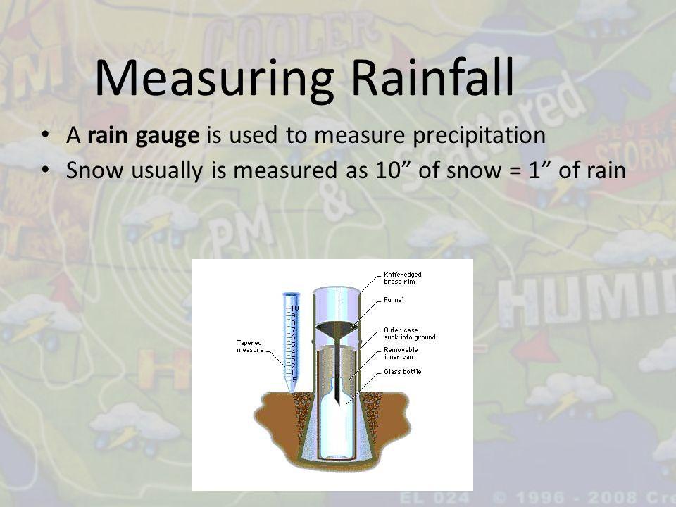 Measuring Rainfall A rain gauge is used to measure precipitation
