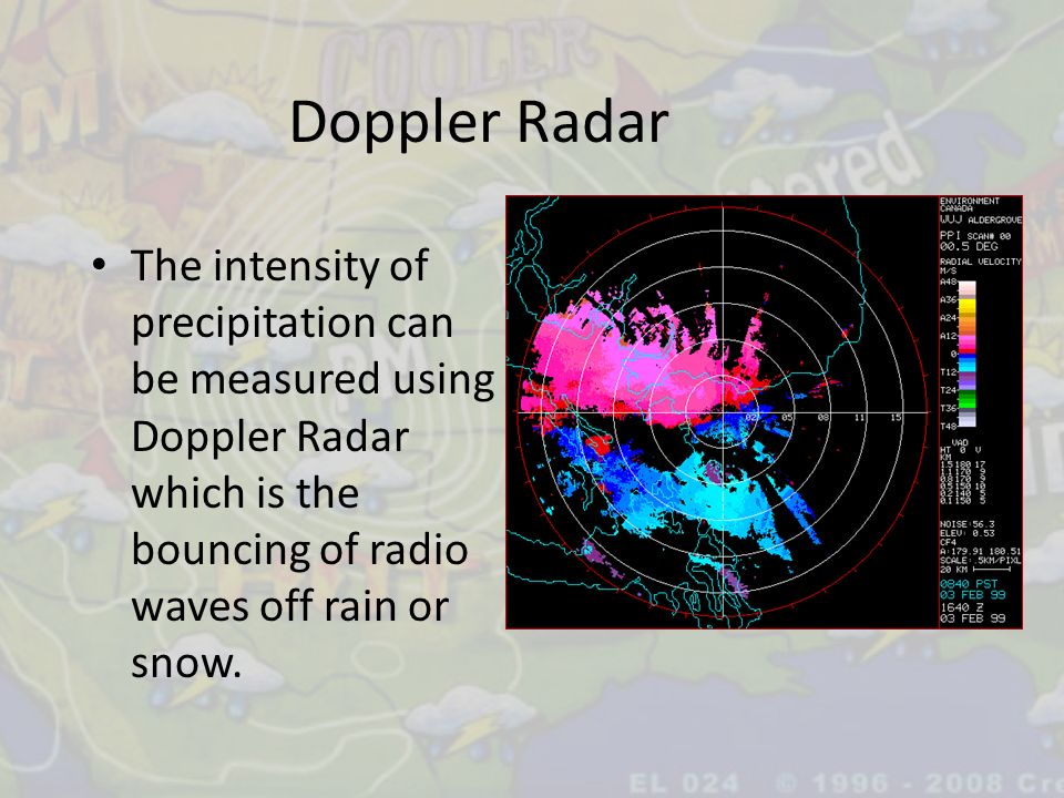 Doppler Radar The intensity of precipitation can be measured using Doppler Radar which is the bouncing of radio waves off rain or snow.