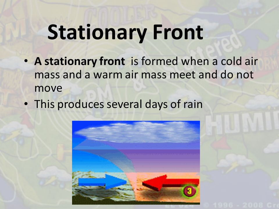 Stationary Front A stationary front is formed when a cold air mass and a warm air mass meet and do not move.