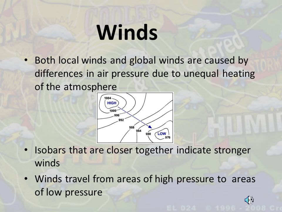 Winds Both local winds and global winds are caused by differences in air pressure due to unequal heating of the atmosphere.