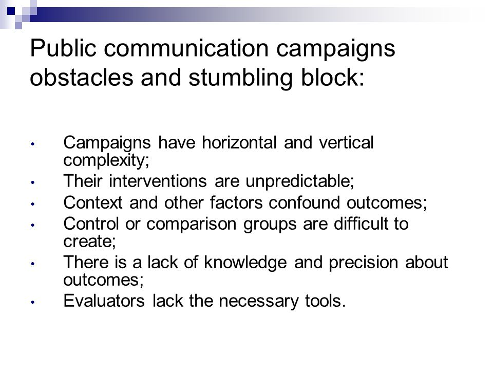 Public communication campaigns obstacles and stumbling block:
