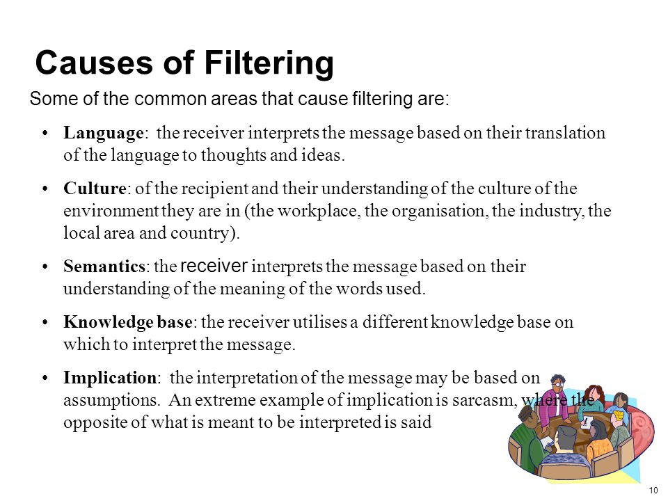 Causes of Filtering Some of the common areas that cause filtering are: