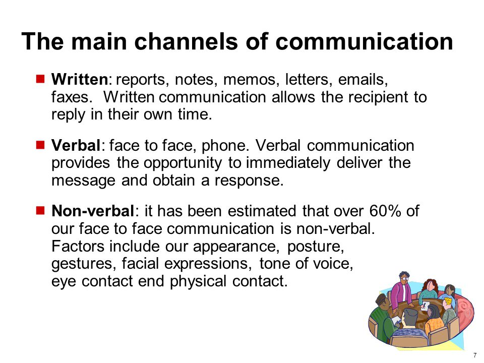 The main channels of communication