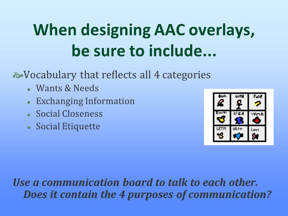 When designing AAC overlays, be sure to include...