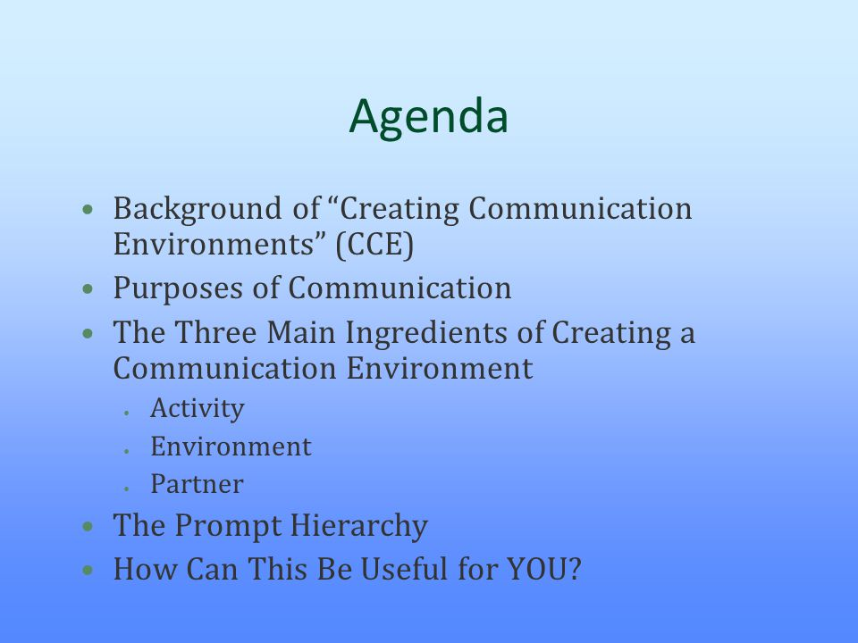 Agenda Background of Creating Communication Environments (CCE)