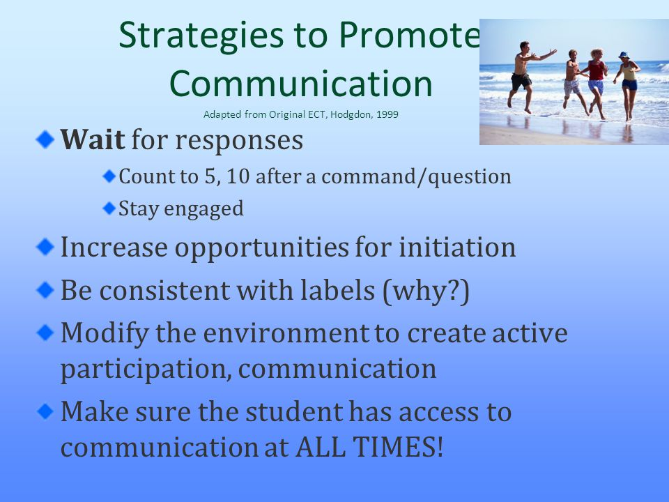 Strategies to Promote Communication Adapted from Original ECT, Hodgdon, 1999