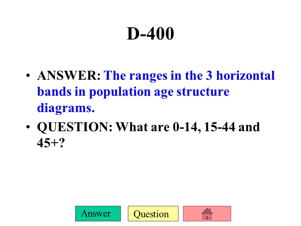 D-400ANSWER: The ranges in the 3 horizontal bands in population age structure diagrams.