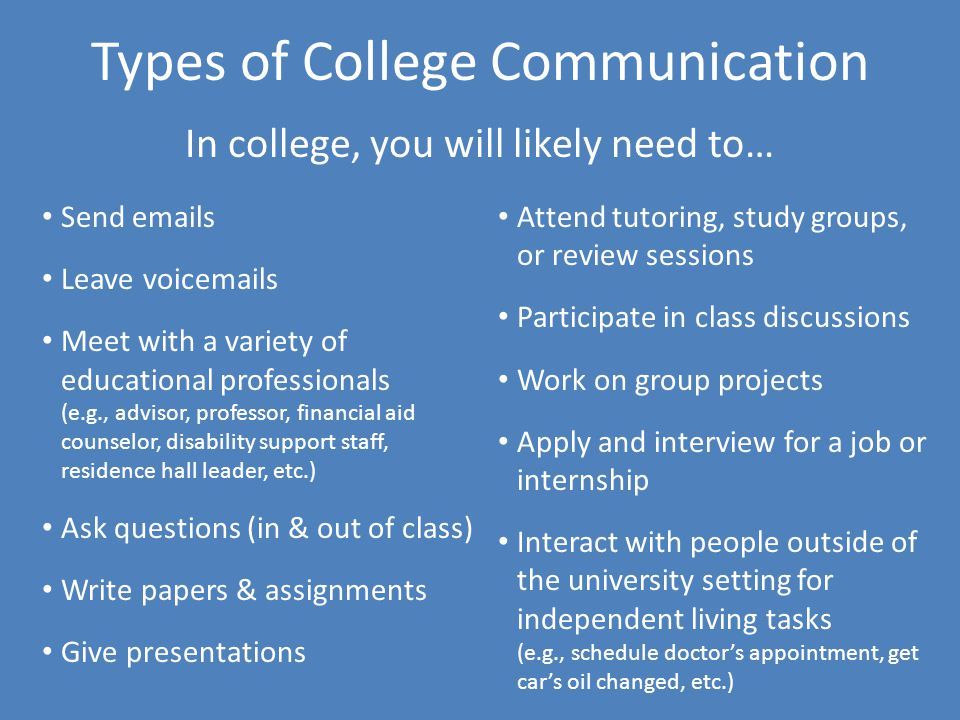 Types of College Communication