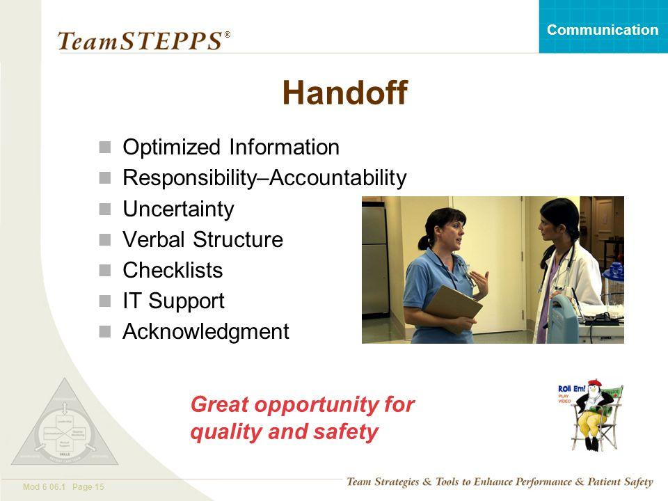 Handoff Optimized Information Responsibility–Accountability