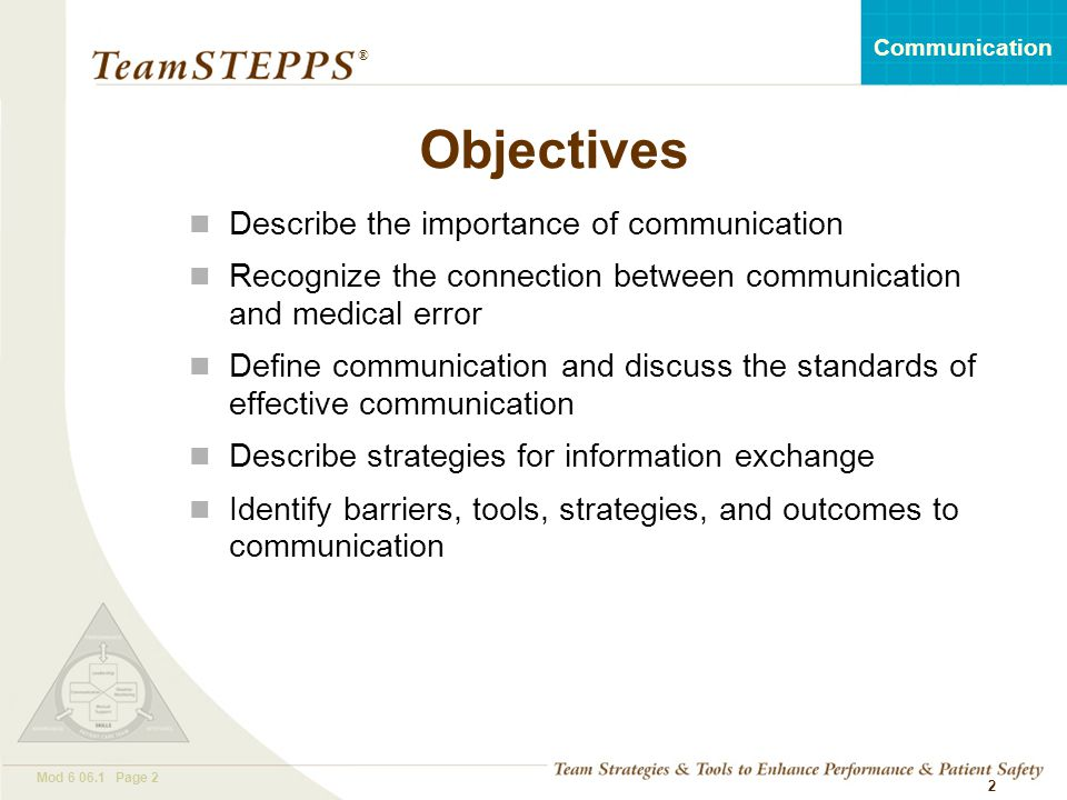 Objectives Describe the importance of communication