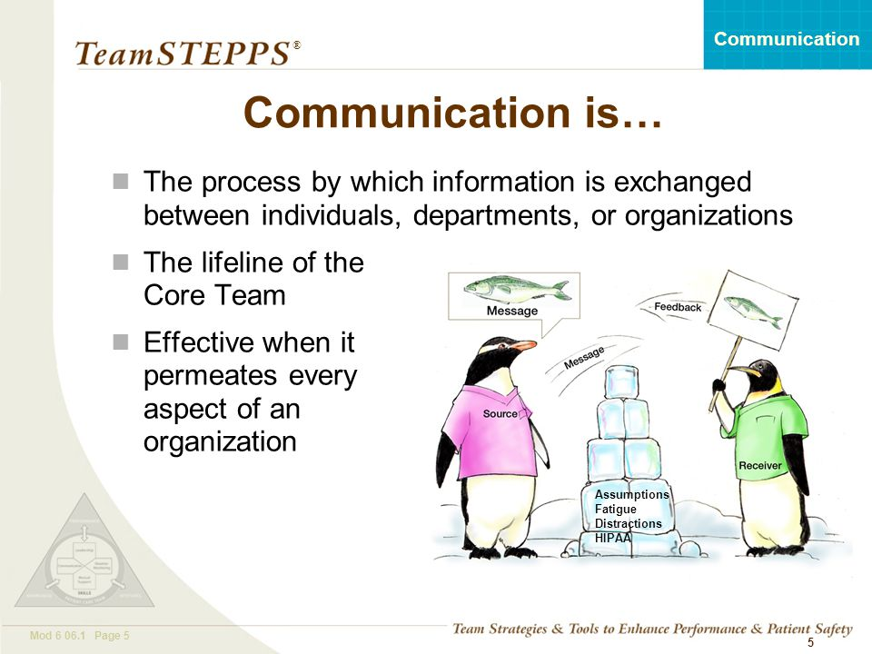 Communication is… The process by which information is exchanged between individuals, departments, or organizations.