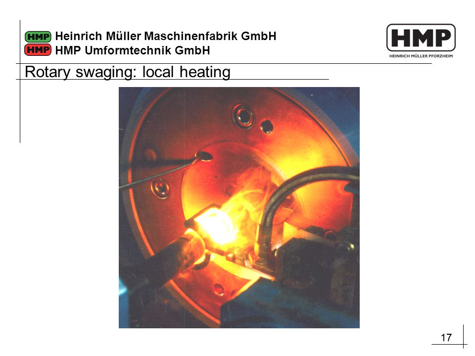 Rotary swaging: local heating