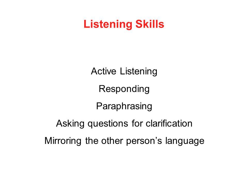 Listening Skills Active Listening Responding Paraphrasing