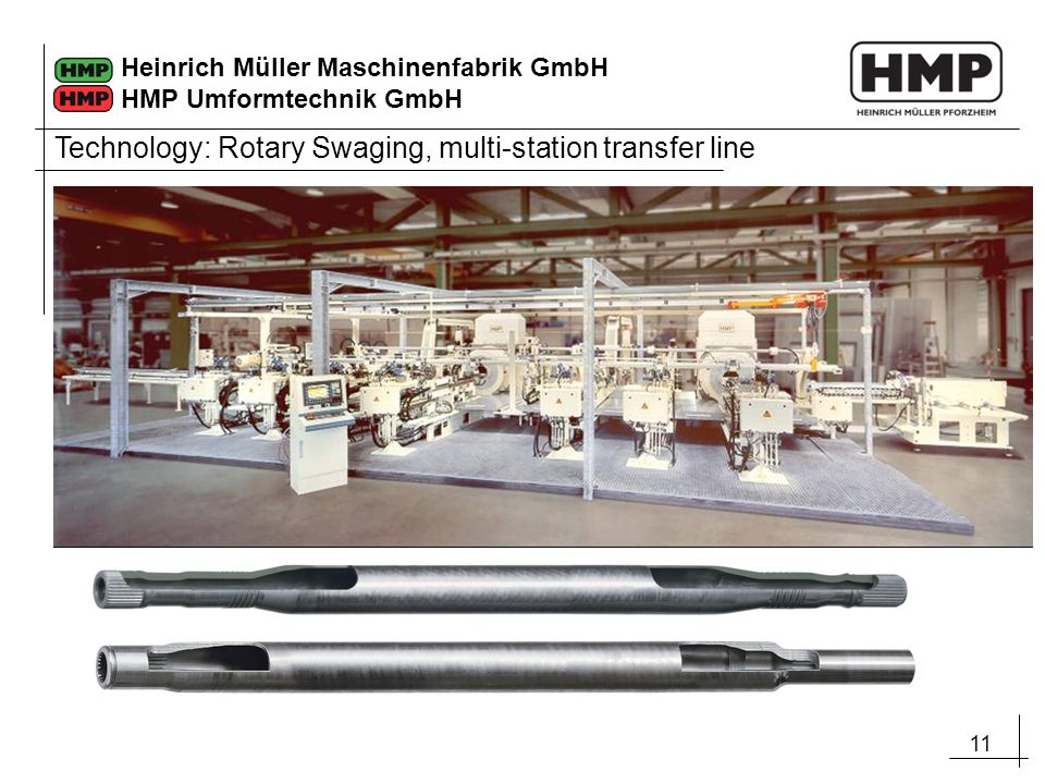 Technology: Rotary Swaging, multi-station transfer line