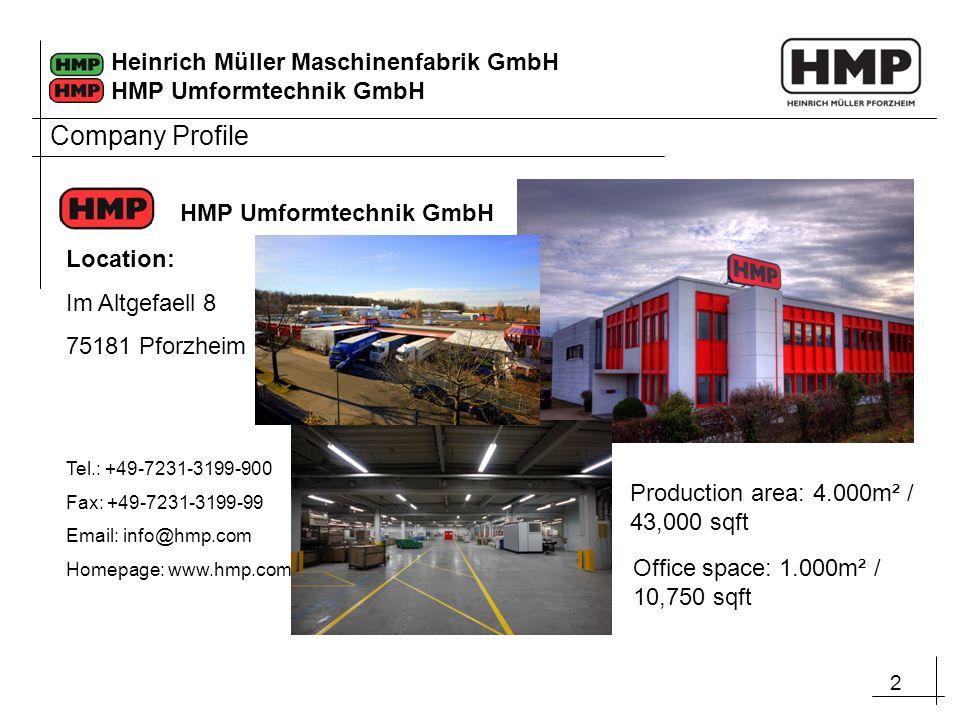 Company Profile HMP Umformtechnik GmbH Location: Im Altgefaell 8