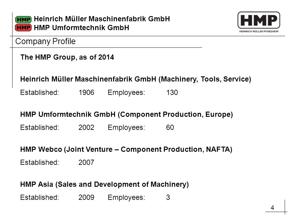 Company Profile The HMP Group, as of 2014