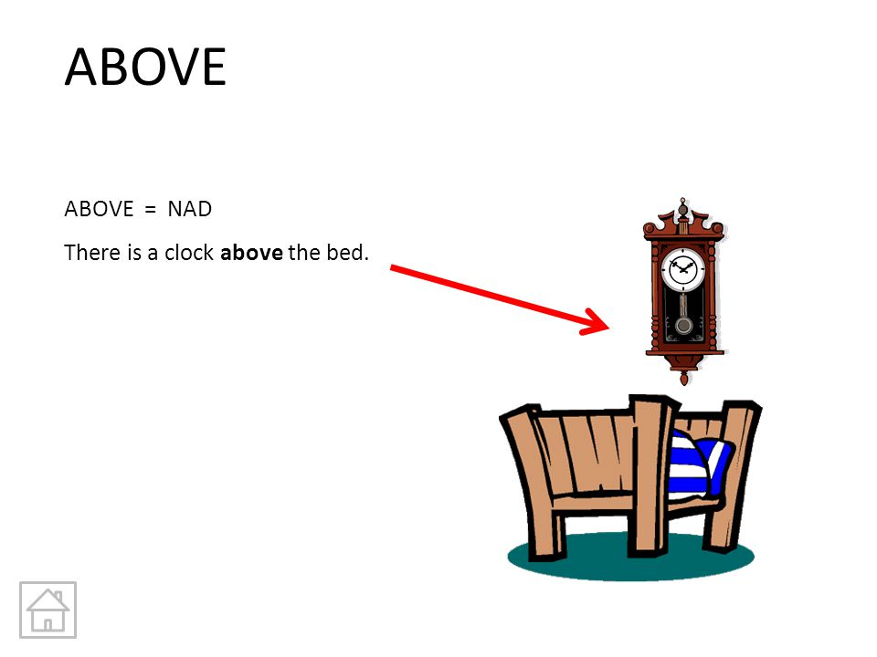 ABOVE ABOVE = NAD There is a clock above the bed.