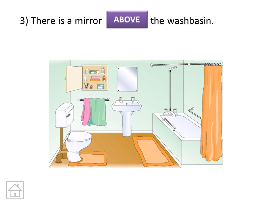 3) There is a mirror the washbasin.