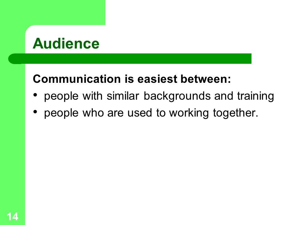 Audience Communication is easiest between: