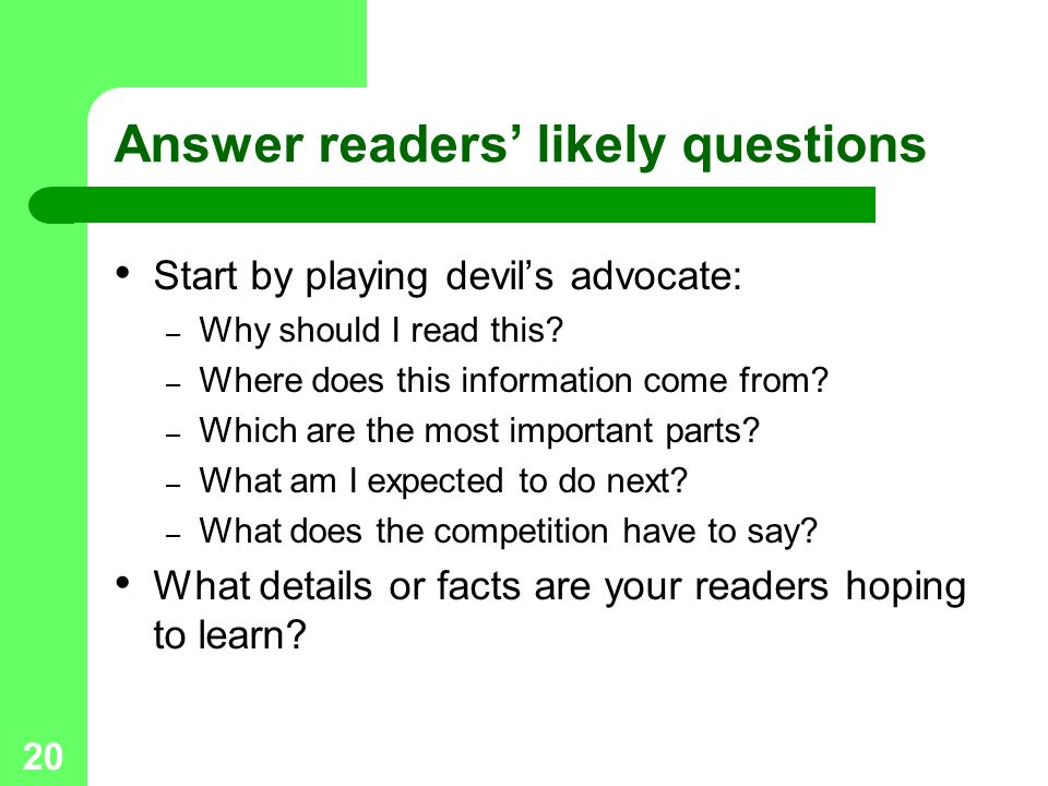 Answer readers' likely questions
