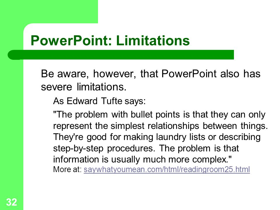 PowerPoint: Limitations
