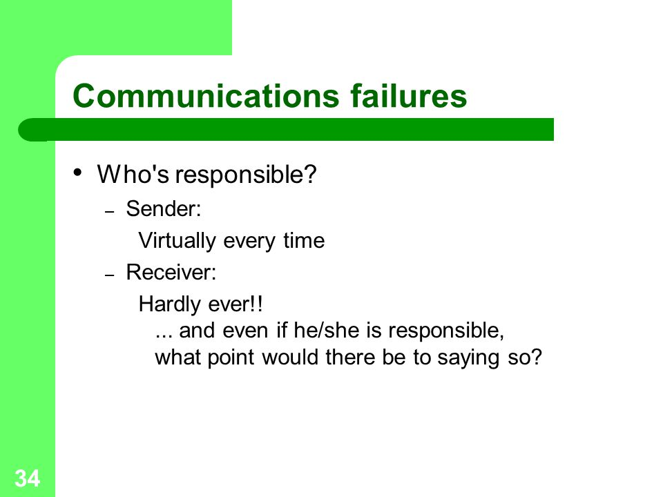 Communications failures