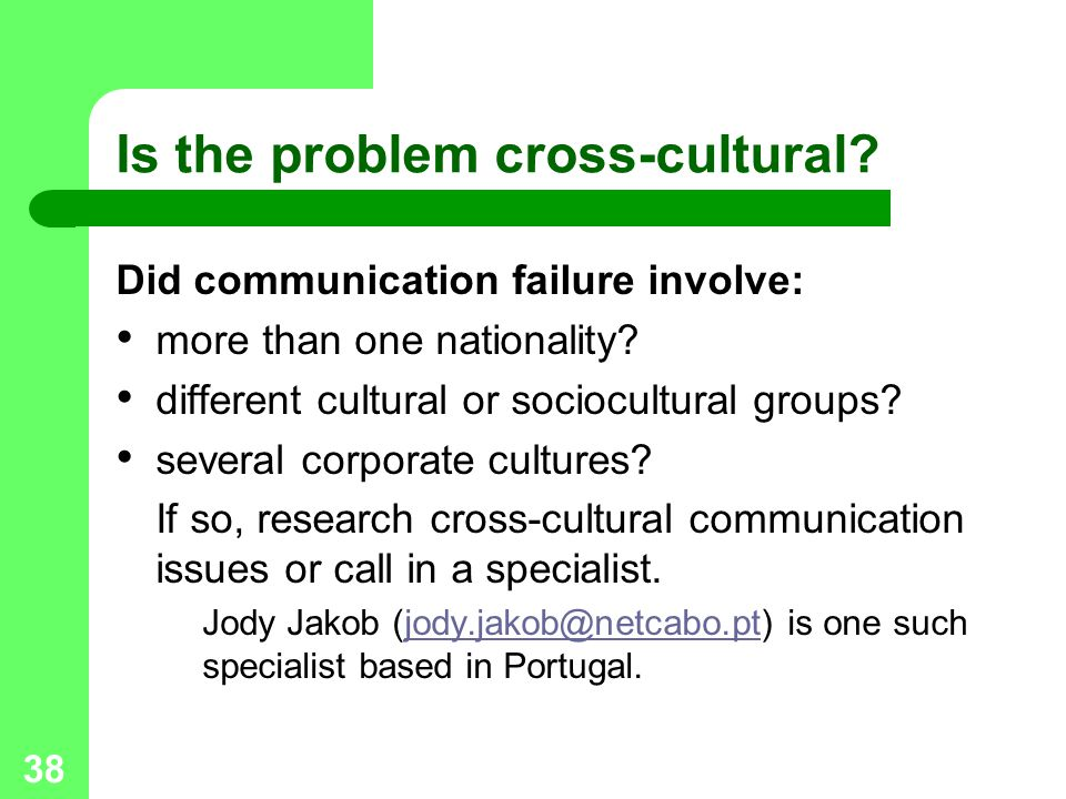 Is the problem cross-cultural