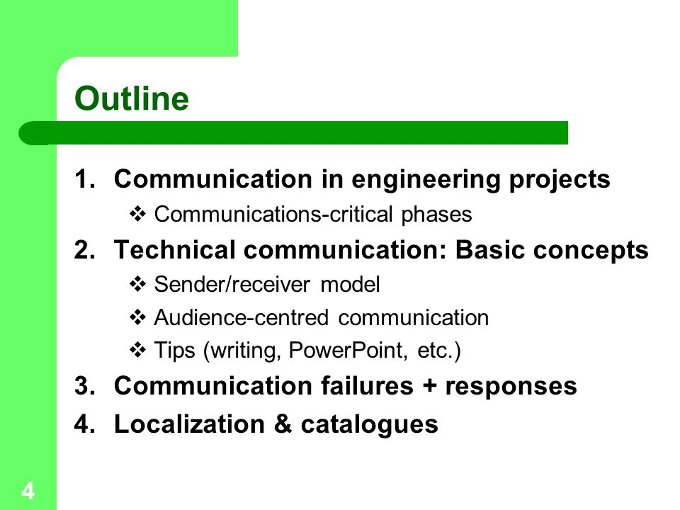 Outline Communication in engineering projects