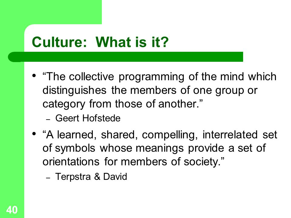 Culture: What is it The collective programming of the mind which distinguishes the members of one group or category from those of another.