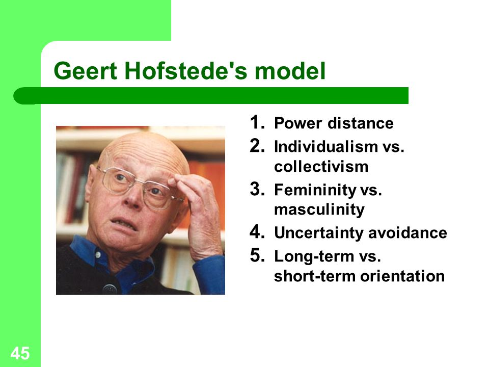 Geert Hofstede s model Power distance Individualism vs. collectivism