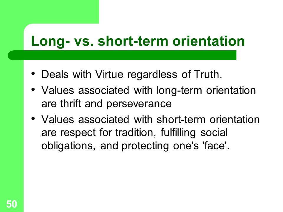 Long- vs. short-term orientation