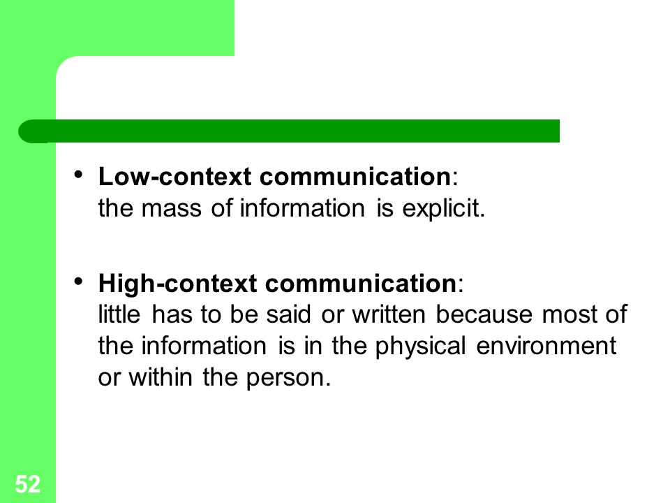 Low-context communication: the mass of information is explicit.