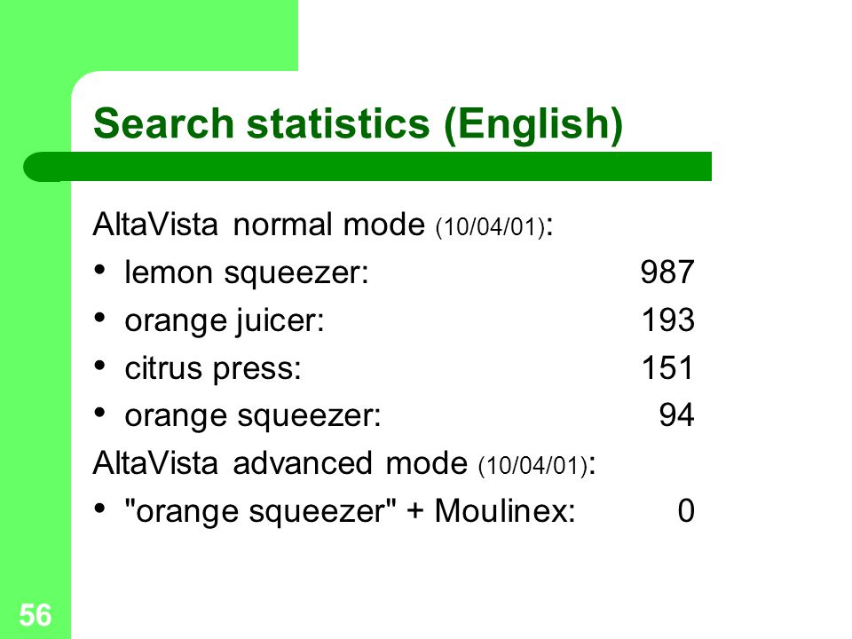 Search statistics (English)
