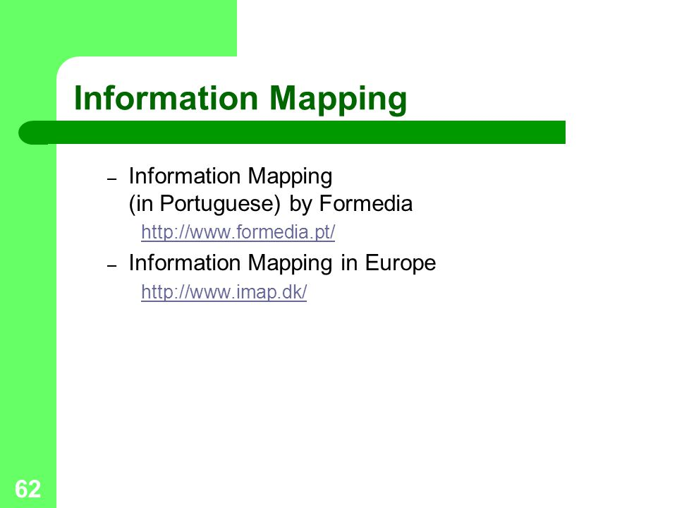 Information Mapping Information Mapping (in Portuguese) by Formedia