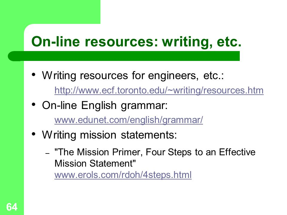 On-line resources: writing, etc.