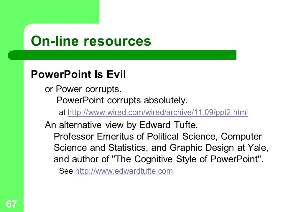 On-line resources PowerPoint Is Evil