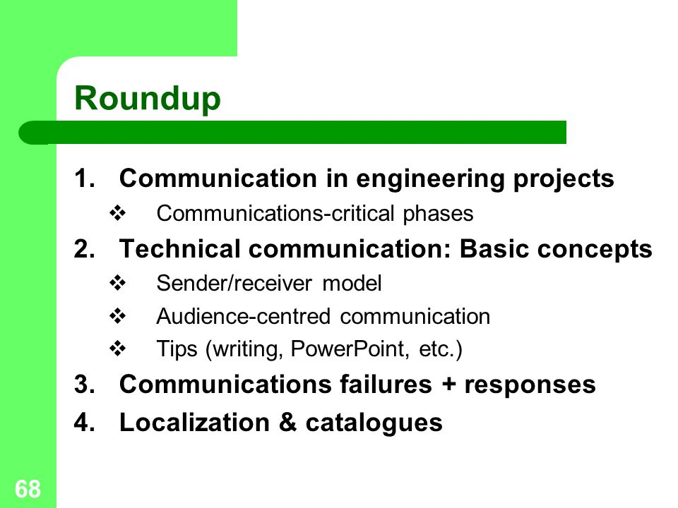 Roundup Communication in engineering projects