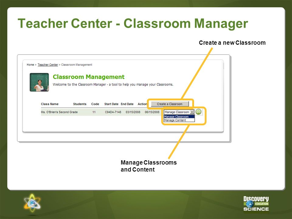 Teacher Center - Classroom Manager