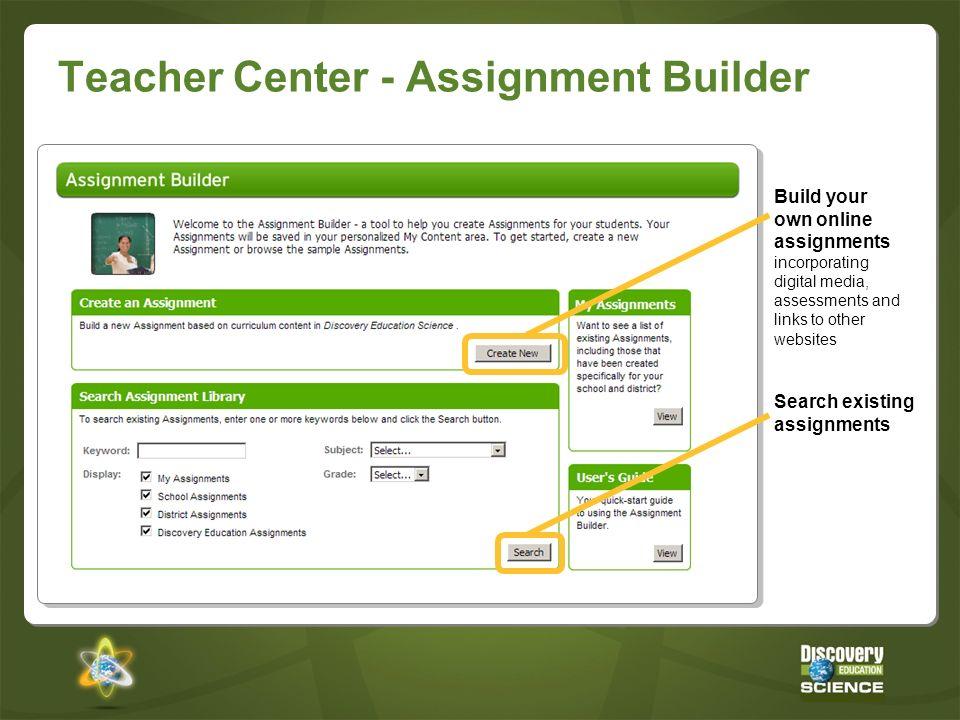Teacher Center - Assignment Builder