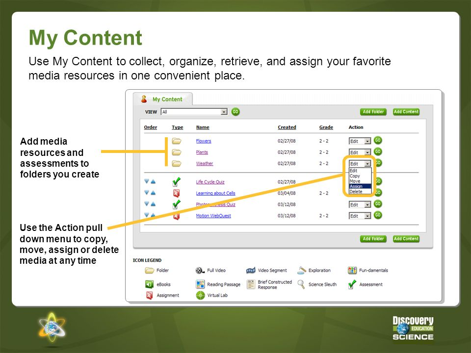 My Content Use My Content to collect, organize, retrieve, and assign your favorite media resources in one convenient place.