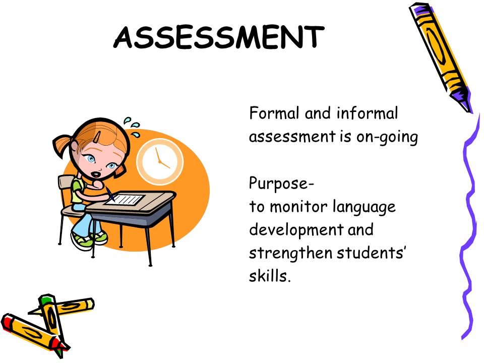 ASSESSMENT Formal and informal assessment is on-going Purpose-