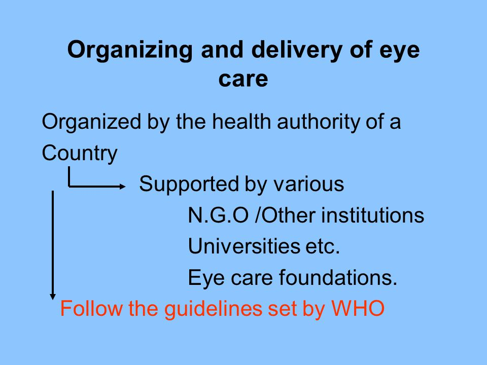 Organizing and delivery of eye care