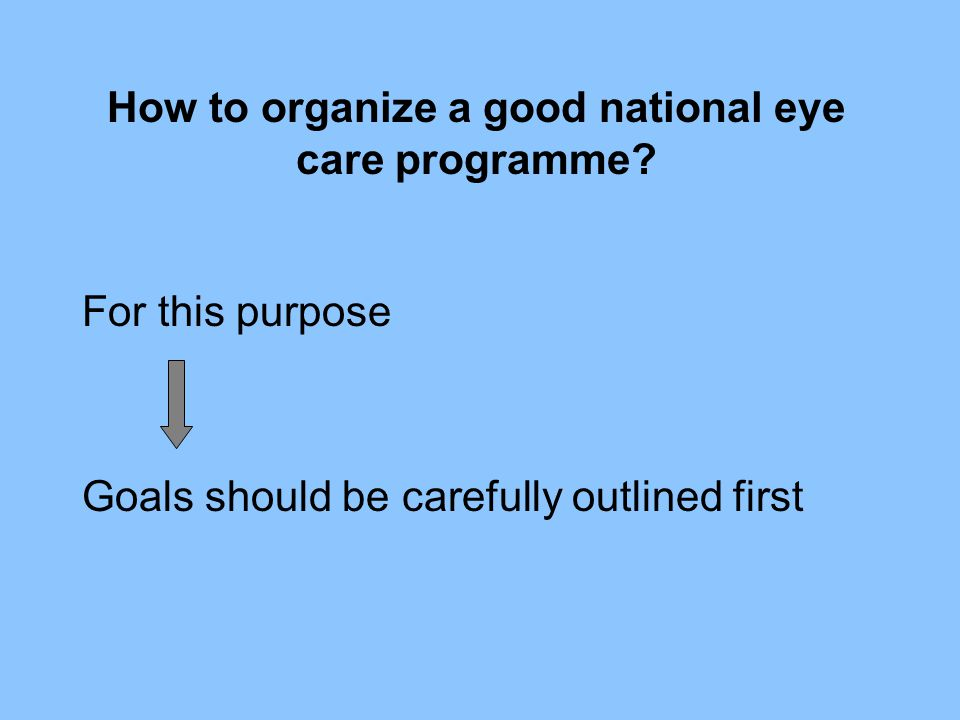 How to organize a good national eye care programme