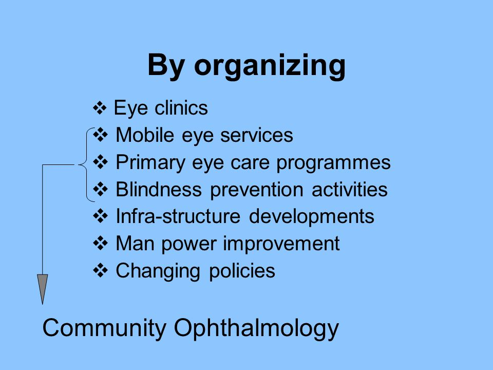 By organizing Community Ophthalmology Mobile eye services