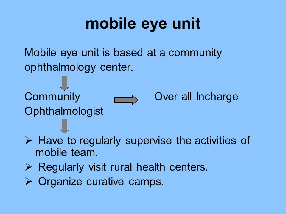 mobile eye unit Mobile eye unit is based at a community