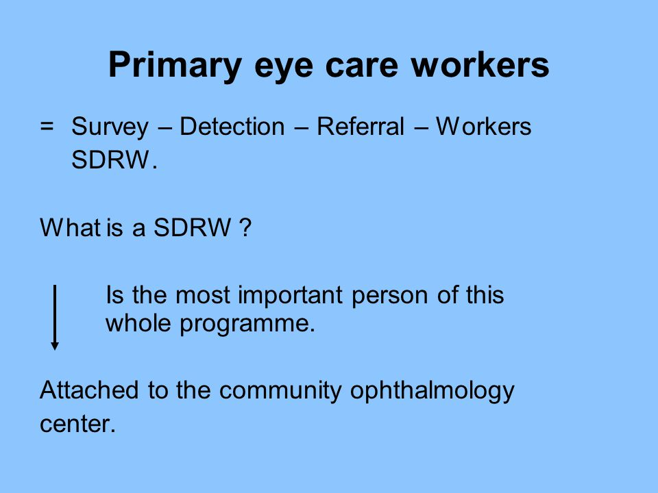 Primary eye care workers