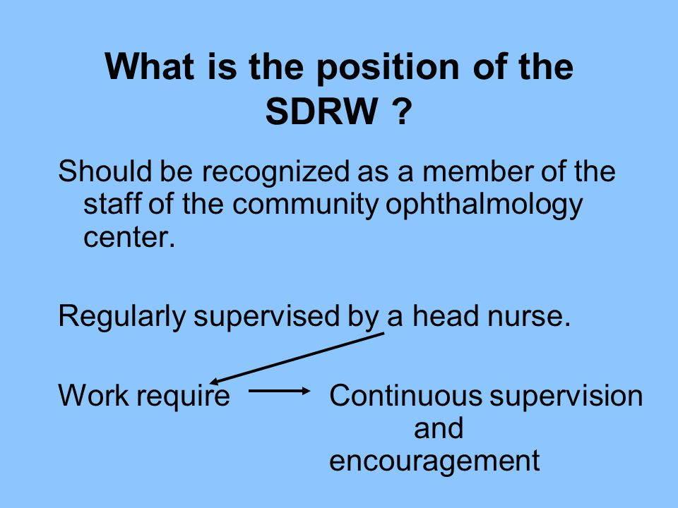 What is the position of the SDRW
