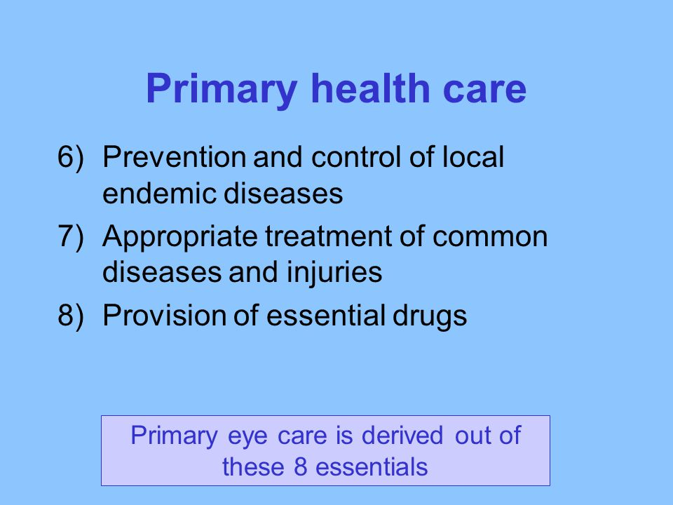 Primary eye care is derived out of these 8 essentials